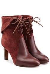 Chloe Suede And Leather Lace Up Boots Red