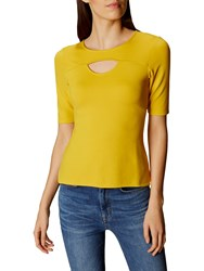 Karen Millen Cut Out Casual Top Yellow