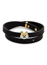 Ruifier 'Teddy' 18K Yellow Gold Plated Dog Charm Leather Bracelet Black