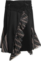 Sacai Ruffled Silk Organza Trimmed Pleated Poplin Skirt Black