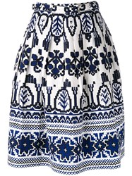 Samantha Sung Flared Printed Skirt Women Cotton Spandex Elastane 8 White
