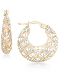 Macy's Openwork Two Tone Round Chunky Hoop Earrings In 14K Gold And White Gold