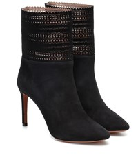 Alaia Suede Ankle Boots Black