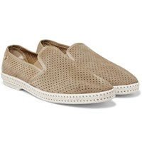 Rivieras Perforated Suede Espadrilles Cream