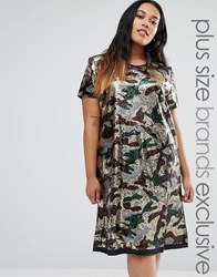 Liquor And Poker Plus Sequin Oversized Dress In Camo Print Khaki Green