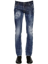 Dsquared 18Cm Slim Distressed Stretch Denim Jeans