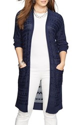 Plus Size Women's Lauren Ralph Lauren Cable Knit Long Open Front Cardigan
