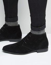 Asos Chukka Boots In Black Faux Suede Black