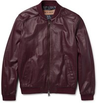 Etro Nappa Leather Bomber Jacket Burgundy