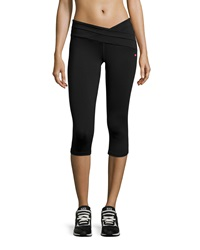 Pink Lotus V Waist Wrap Capri Leggings Black