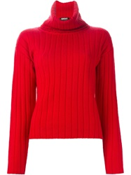 Dkny Ribbed Turtle Neck Sweater Red