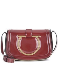 Salvatore Ferragamo Sabine Patent Leather Shoulder Bag Red