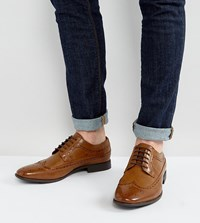 Asos Wide Fit Brogue Shoes In Tan Faux Leather