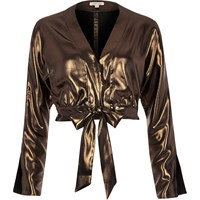 River Island Womens Metallic Gold Starlight Tie Front Crop Top