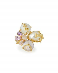Indulgems Freshwater Pearl And Multi Gemstone Cluster Ring