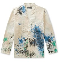 Sasquatchfabrix. Paint Splattered Cotton Blend Twill Jacket White