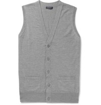 Thom Sweeney Slim Fit Wool Vest Gray