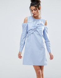 Asos Cold Shoulder Origami Detail Cotton Shirt Dress Blue