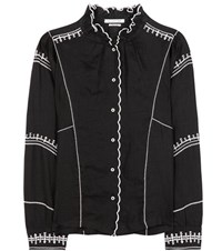 Etoile Isabel Marant Delphine Embroidered Linen Shirt Black