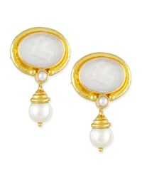 Pegasus Intaglio Clip Post Earrings With Pearl Drop White Elizabeth Locke
