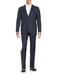 Black Brown Henry Fit Two Piece Wool Suit Navy