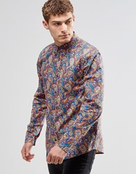 Pretty Green Shirt In All Over Paisley Print In Classic Regular Fit Vintag Multi