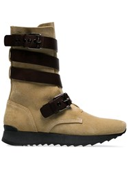 Loewe Brown Sue Strappy Suede And Leather Flat Boots Neutrals