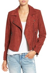 Astr Women's Faux Suede Moto Jacket Rusted Tan