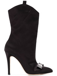 Alessandra Rich Embellished Bow Boots Black