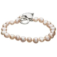 Claudia Bradby Hammered Heart Charm Freshwater Pearl Bracelet Pink