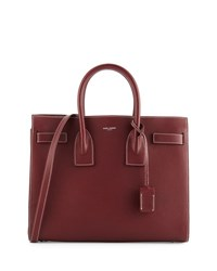 Saint Laurent Sac De Jour Topstitched Leather Satchel Bag Brown