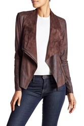 Bnci By Blanc Noir Vegan Suede Drape Jacket Mocha Brown