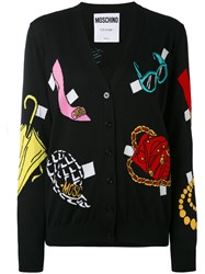 Moschino Multi Pattern V Neck Cardigan Women Cotton 46 Black