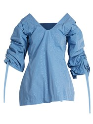 Toga Creased Effect Cutaway Taffeta Top Light Blue