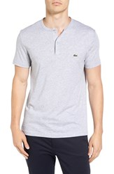Lacoste Men's Henley T Shirt Silver Grey Chine