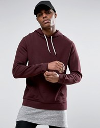 Asos Hoodie In Burgundy Regal Red