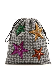 Attico Sequin Embellished Hound's Tooth Drawstring Pouch Grey Multi
