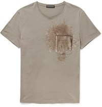 Alexander Mcqueen Slim Fit Sequinned Cotton Jersey T Shirt Gray