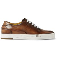 Berluti Burnished Leather Sneakers Brown