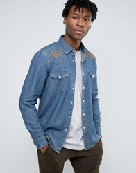 Asos Regular Fit Western Denim Shirt With Embroidered Front Yoke Blue