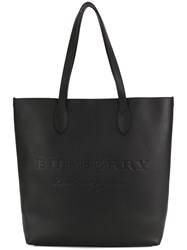Burberry Medium Embossed Tote Calf Leather Polyester Polyurethane Black