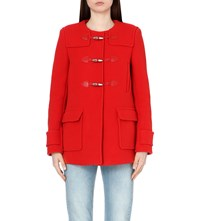 Sandro Toggle Fastened Wool Blend Coat Rouge