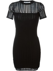Alexander Wang T By Perforated Fitted Dress Black
