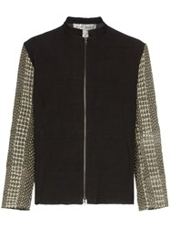 By Walid Cross Stitch Embroidered Contrast Sleeve Shirt Jacket Black
