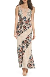 Harlyn Burnout Velvet Mix Media Maxi Dress Ivory Multi
