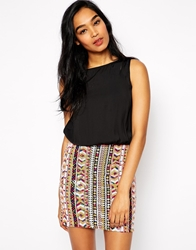 Rare Dress With Aztec Sequin Skirt Multi