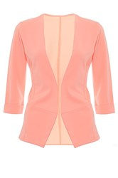 Quiz Coral 3 4 Sleeve Turn Up Jacket Orange