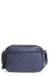 Emperia Quilted Camera Faux Leather Crossbody Bag Blue Navy