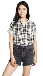 Madewell Courier Button Back Top Krissa Gingham True Black