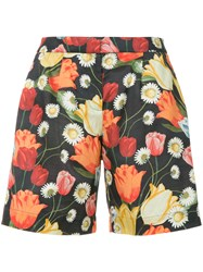 Mother Of Pearl Tulip Print Bermuda Shorts Black